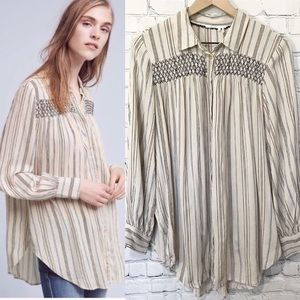 Floreat oversized button up striped shirt small